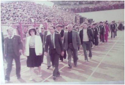 Учество во дефилето на раководството и спортистите на Македонија, Фоча, 1985 година
