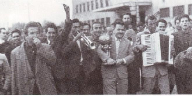 На Kуп шампионите им е приреден пречек на железничката станица во Скопје-1961