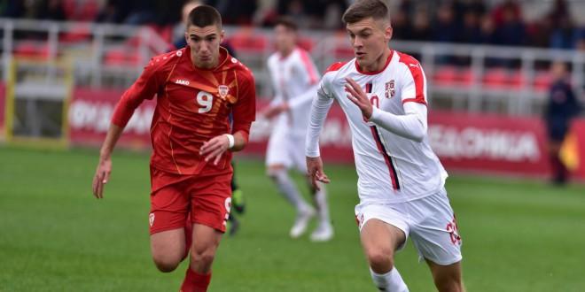 Трајановски од Вардар го постигна единствениот гол за Македонија У18 во поразот од Србија